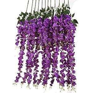 Artificial Silk Wisteria Vine Rattan Garland Fake Hanging Flower Wedding Party Home Garden Outdoor Ceremony Floral Decor,3.18 Feet, 6 Pieces (Purpule-2) 14
