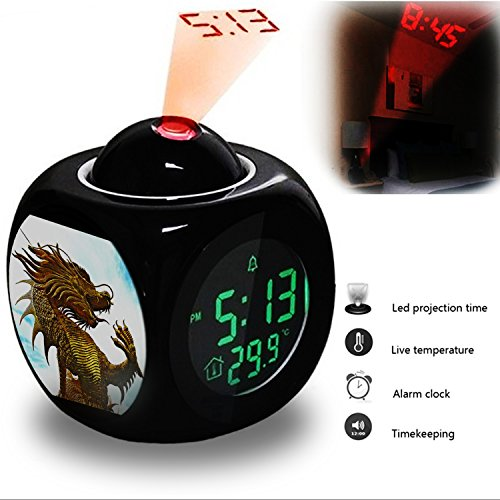 Projection Alarm Clock Wake Up Bedroom with Data and Temperature Display Talking Function, LED Wall/Ceiling Projection, Dinosaur-249.355_Golden Thailand Sculpture Illustration Dragon Dinosaur