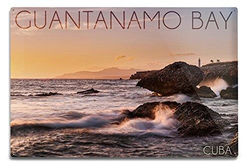 Guantanamo Bay, Cuba - Golden Pink Sky and Ocean (12x18 Aluminum Wall Sign, Wall Decor Ready to Hang)