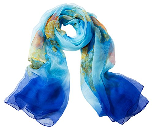 Aivtalk Donna Chic Chic Lavis Sciarpa Light Multicolor Sciarpa Satin Blue Silk Special Long Fashion Classic Fiori Print Clear rAwBrf