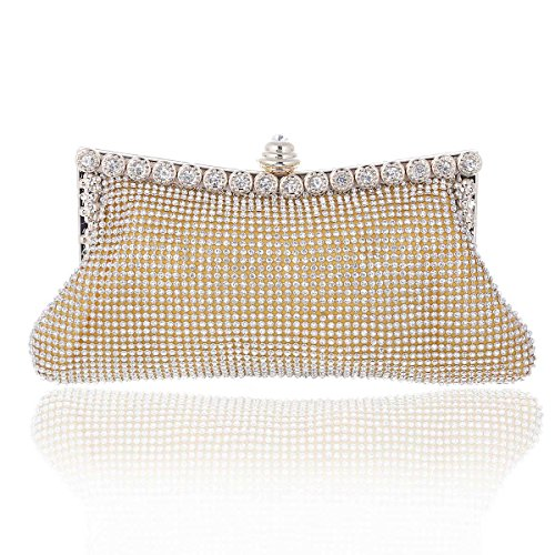 Purse Mesh Ladies Gold Party Rhinestones Small Damara nwX7qO6Fxf