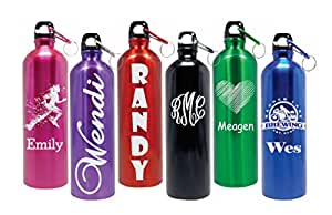 Personalized 25oz Stainless Steel Water Bottle Laser Engraved Customize On Line NOW! (Black)
