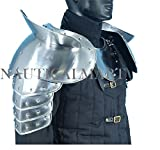 Medieval Gothic Fantasy Shiny Metal Gorget+Shoulder Guard Warrior Pauldron Armor Standard Silver By Nauticalmart