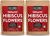 Organic Hibiscus Flowers - Loose Tea (400+ Cups) - Cut & Sifted - 2x 16oz Reselable Bags (32 oz / 2 Pounds Total) - 100% Raw From Egypt - by Feel Good Organics