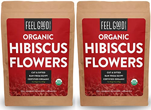 Organic Hibiscus Flowers - Loose Tea (400+ Cups) - Cut & Sifted - 2-Pack 16oz Resealable Bag (2 Pounds Total) - 100% Raw From Egypt - by Feel Good Organics