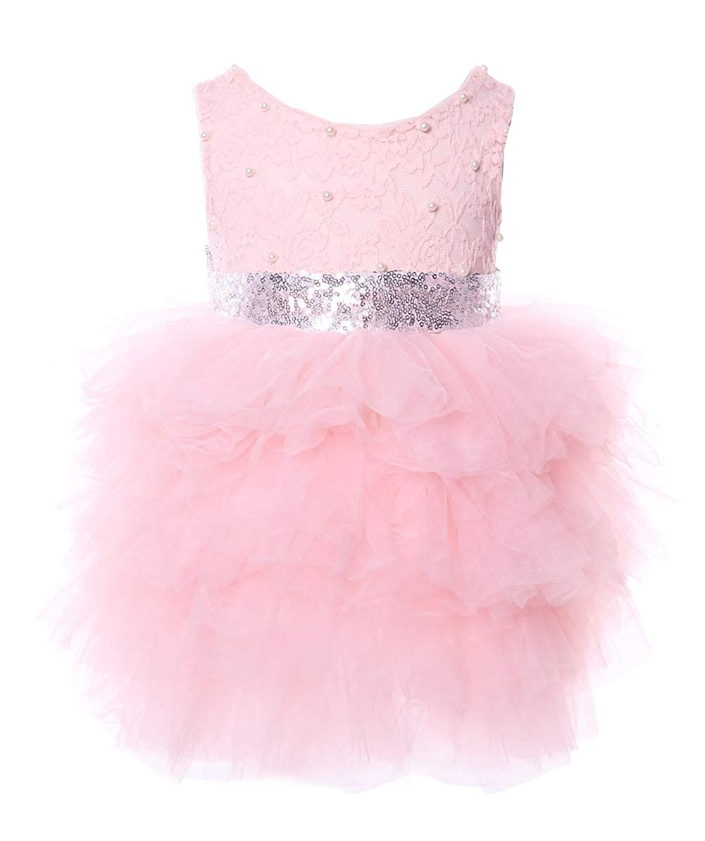 255c9c226 Amazon.com: Cilucu Flower Girls Dresses Baby Party Dress Toddlers Tutu  Sequin Lace Dress Beaded Pink/Silver: Clothing