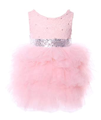 1263ea5c6 Cilucu Flower Girls Dresses Baby Party Dress Toddlers Tutu Sequin Lace  Dress Beaded Pink/Silver