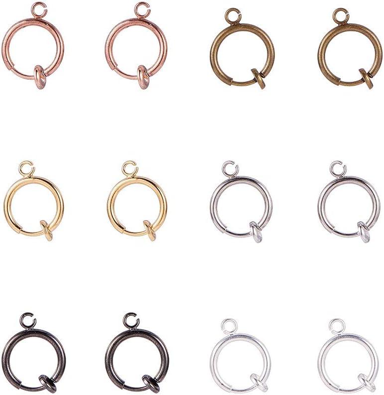 6 Farben der Accessary in gemischten Farben herstellt PandaHall Elite 18 Paar runde Messing-Ohrclips f/ür Nicht durchbohrte Ohren DIY-Ohrring 11 mm