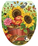 brown cushion toilet seat Toilet Tattoos, Toilet Seat Cover Decal,Fall Apple Basket, Size Elongated
