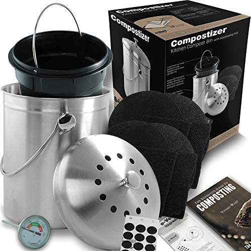 Compostizer Introducing Stainless Steel 1.3 Gal Kitchen Compost Bin Kit, Special e-Vent Technology, Double Carbon Filters, Paperback Book, Composting Thermometer,4 Double - Nesting Bowl Crock