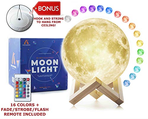 (3D Moon Lamp (Large, 5.9in) with Stand and Hanging Kit! Moon Night Light with 16 LED Colors! Ambient Lighting, Dimmable Moon Ball - Cool Lamps and Lights for Kids, USB Rechargeable Moon Globe Decor)