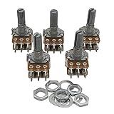 Taiss / 5pcs 20K Ohm 6 Pins Split Shaft Rotary Linear Dual Taper Audio B Type Potentiometer, Volume Control Potentiometer B20K