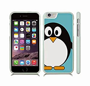 Case Cover For SamSung Galaxy S4 Mini with Animated Penguin, Turquoise Background Design Snap-on Cover, Hard Carrying Case (White)