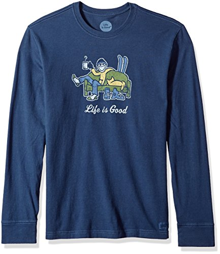 Life is good Men's Crusher Long Sleeve Apres Ski T-Shirt, Darkest Blue, Large (Good Is Long Sleeve Life)