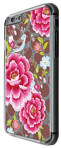 961 - cool cute fun shabby chic pink flowers roses nature blue bird Design For iphone 6 Plus / iphone 6 Plus S 5.5'' Fashion Trend CASE Back COVER Plastic&Thin Metal -Clear