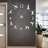 The Geeky Days DIY Yoga Sport Frameless Large Wall Clock Modern Design Mirror Effect Living Room Wall Clock Meditation Zen Home Decoration Wall Watch Art (Silver)