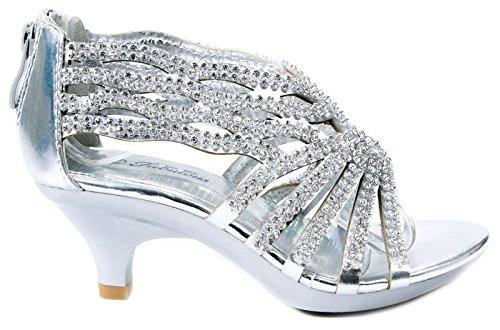 Fabulous Angel76 Kids Silver Rhinestone Cut Out Starppy Platform Low Heel Dress Sandals-3