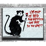 """Banksy Graffiti Art Canvas Print 'Out of Bed' Stunning Modern Canvas Art Print - Wall Art - Framed Ready to Hang in your home interior (30"""" x 20"""")"""