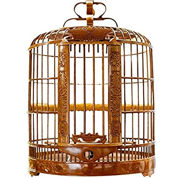 ZRZJBX Prevue Bird Cage/Medium Birdcage/Aviary Bird Cage/Bird Cage Liner/Bird Cage Accessories/Made By Bamboo With Exquisite Carving For Small Birds,BrownA