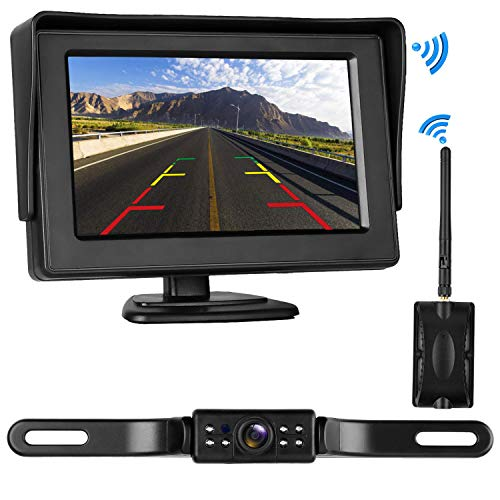 LeeKooLuu Digital Wireless Backup Camera&Monitor Kit for RV/Car/Trailer/Truck/Motorhome High-Speed Observation System Front/Side/Rear View Driving/Reversing Waterproof Night Vision Guide Lines ON/Off -