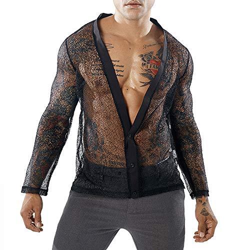 9f3ce23dc526fc INVACHI Mens Sexy Mesh See Through T Shirt Fishnet Clubwear Sheer  Undershirts