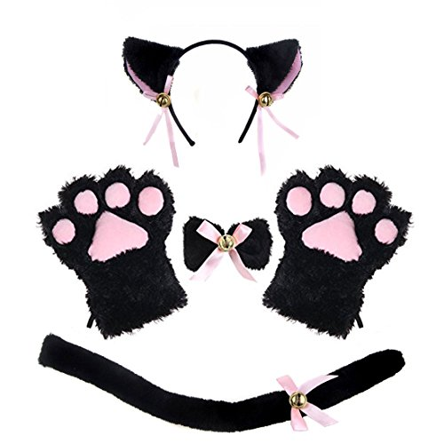 [Adult Cat Costume Tail Ears Collar Paws Gloves Anime Lolita Gothic Cat Cosplay Set (Black)] (Cute Costumes To Make Yourself)