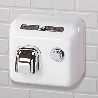 American Dryer DR20N Steel Cover Push Button Hand Dryer, 110-120V, 2,300W Power, 60Hz, White Enamel Finish