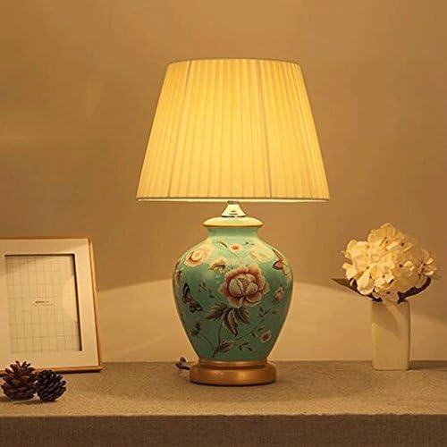 セラミックテーブルランプ 陶器テーブルランプE27光源布ランプシェードセラミックスボディフル銅ベースデスクランプデスクランプ