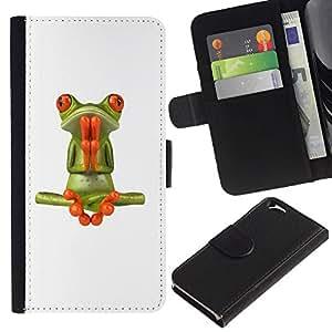 WINCASE (No Para IPHONE 6 PLUS) Cuadro Funda Voltear Cuero Ranura Tarjetas TPU Carcasas Protectora Cover Case Para Apple Iphone 6 - blanco meditación rezo de la yoga de la rana