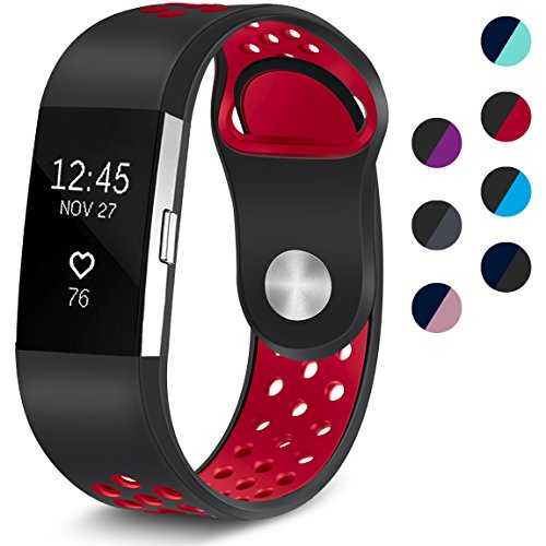 Maledan Replacement Sport Bands with Air Holes Compatible for Fitbit Charge 2, Black/Red, Small