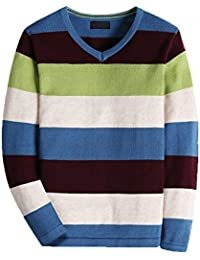 Boy's Long-Sleeve Sweater Pullover V-Neck 100% Cotton Multicolor Stripe.