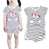 Little Girls 2pc Short Sets 100% Cotton Sleeveless Cute Outfits Summer Clothes for Toddler Girl (2T-6T) (4T, Black)