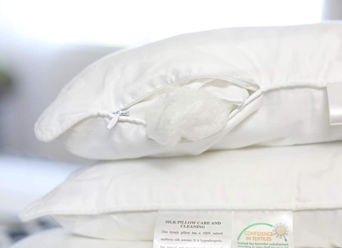 Silk Bedding Direct Pareja DE Almohadas RELLENA DE Seda Hebras Largas de Seda de Morera Envueltas Alrededor de un Núcleo de Seda Sintética. 58cm x 38cm. Precio DE Venta BAJO