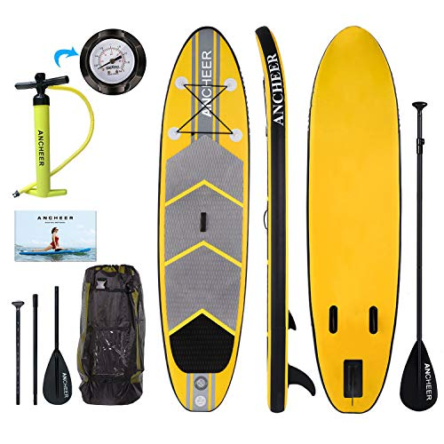 ANCHEER Inflatable Stand Up Paddle Board 10, iSUP Package w/Adjustable Paddle, Pump and Backpack