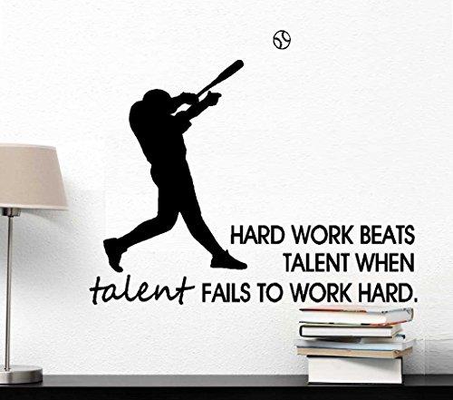 - BestPricedDecals Hard Work Beats Talent, When Talent Fails to Work Hard (Baseball Player #1 or Player #2) Wall or Window Decal (Lrg Option #2 20