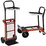 Yosoo 176lbs/80kg Capacity 3 in 1 Aluminum Hand Truck/Dolly & Utility Cart Heavy Duty Folding Moving Warehouse Push Hand Truck Garden Platform Trolley