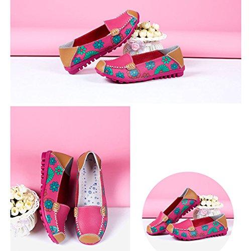 Oriskey Mocasines de cuero mujer Loafers Casual Zapatos Zapatillas Rosa roja