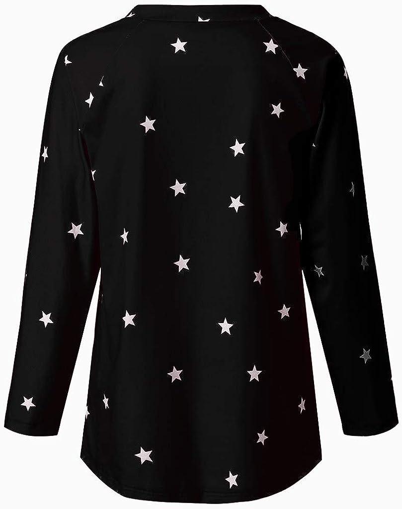 Women Casual Long Sleeve Cotton Star Pattern Sweat T-Shirt Blouse Loose Tops