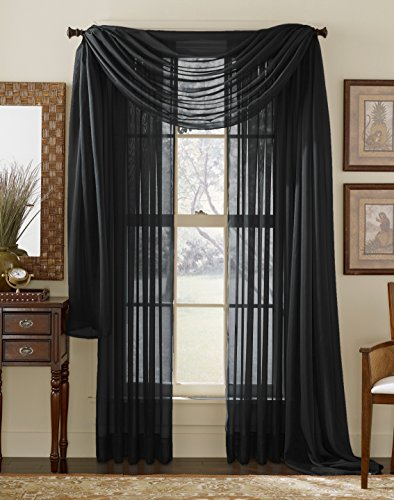LuxuryDiscounts Beautiful Elegant Solid Black Sheer Scarf Valance Topper 40