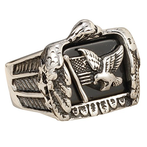 Stainless Steel Vintage American Flag Stars Flying Eagle Biker Ring