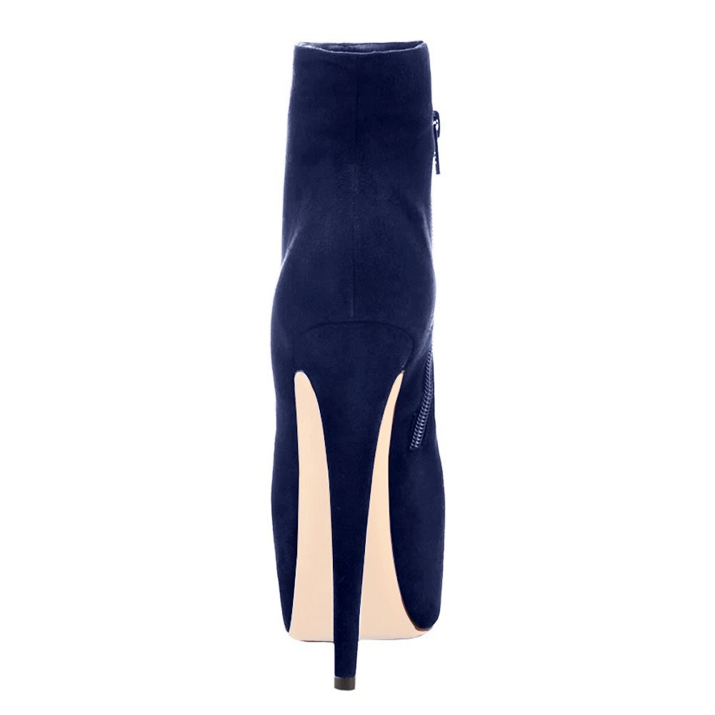 Onlymaker Damen Pumps Stiletto Stiefelette Stiefel High Heels Kurzschaft Stiefelette Stiletto mit Plateau Dunkelblau 3091cb