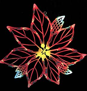 Vickerman lighted led poinsettia flower for 17 clear lighted star christmas window silhouette decoration
