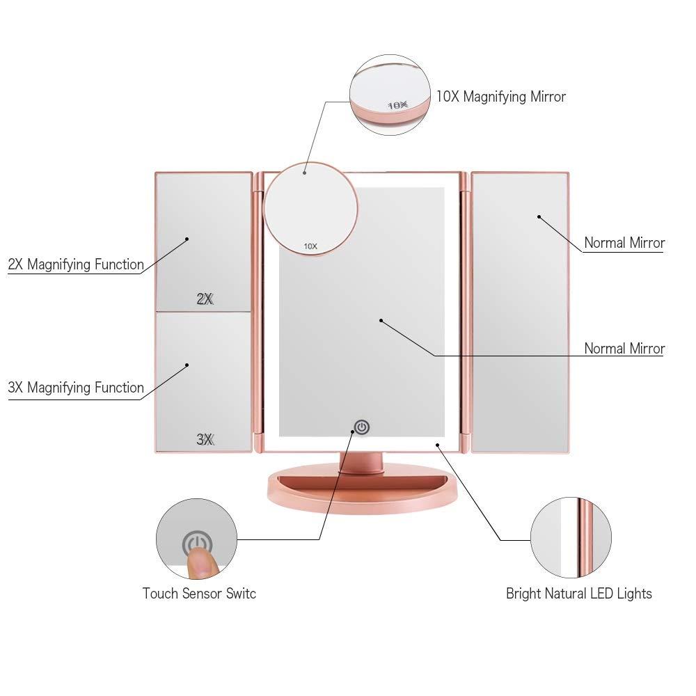 Rotation 180/° Trifold Miroir Cosm/étique de Table Blanc 02 FASCINATE Miroir Maquillage avec /éclairage Miroir Cosm/étique LED Triple 1 x//2 x//3 x//10 x Grossissement 36 LED Lumineux Naturel