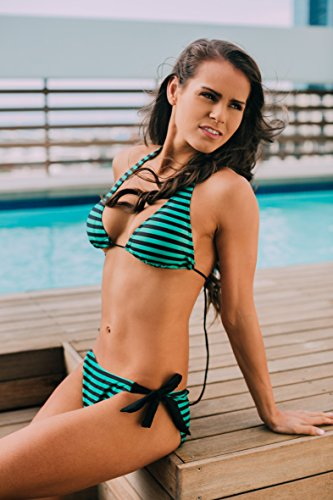 AvaMia Damen Bikini Set Bikinitop und Bikinihose low mit Schnürbindung Farbe Gruen Grösse XL