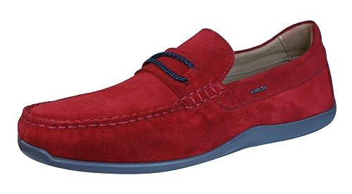 Geox U Xense Moc C para Hombre del Ante de los Zapatos/Mocasines-Red