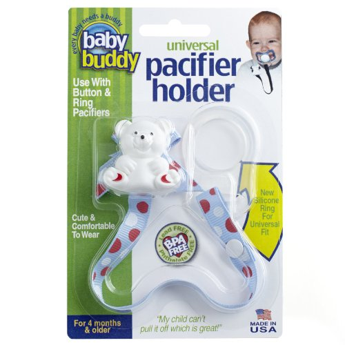 Baby Buddy Universal Pacifier Holder Clip - Snaps to Paci or Attach with Universal-Fit Silicone Ring - Pacifier Clip for Babies 4+ Months/Toddler Boys & Girls, USA Dots