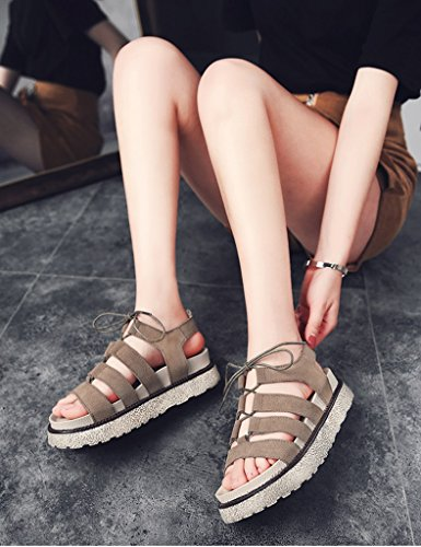 Summer Shoes Flat Bottom Bottom ZCJB Color Shoes toe Size Open Female Female Sandals Thick Flat Roman Khaki Casual Khaki 38 W5RR71