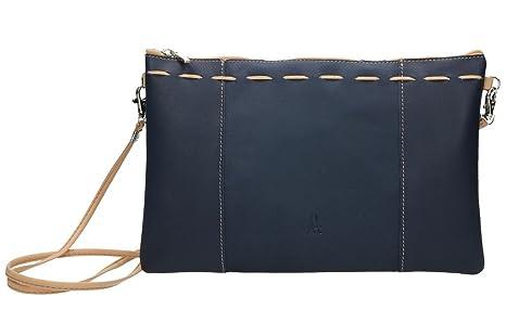 ANTHER Bolso Bandolera azul fabricado en piel de 1ª Calidad, original diseño con tira de