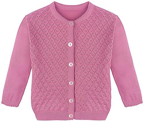 Lilax Little Girls' Basic Long Sleeve Knit Cardigan Sweater 2T Pink (Girls Sweater Pink Cardigan)