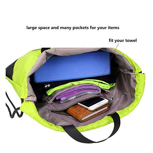 Drawstring Backpack Sports Gym String Bag Cinch Sack Gymsack Sackpack Waterproof (Green) by Amatory (Image #4)